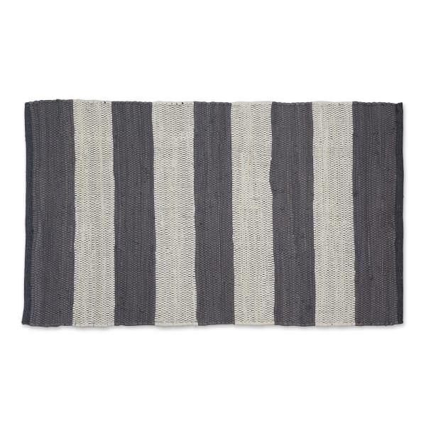 Gray and White Stripe Rag Rug