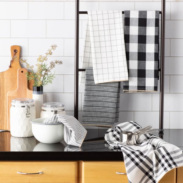 Black Farmhouse Set of 5 Woven Dishtowels