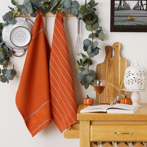 Burnt Orange Harvest Embellished Dishtowel Set/3