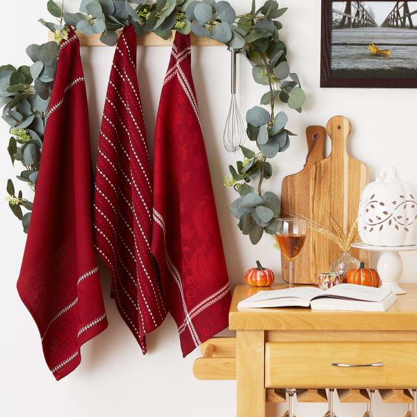 Redwood Harvest Embellished Dishtowel Set/3