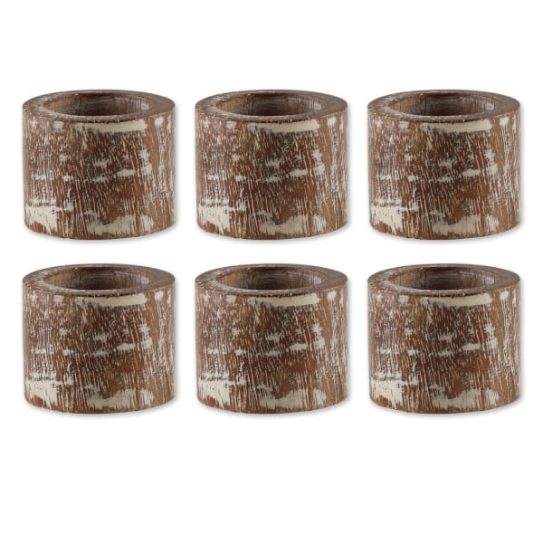 White Wash Finish Wood Band Set of 6 Napkin Rings