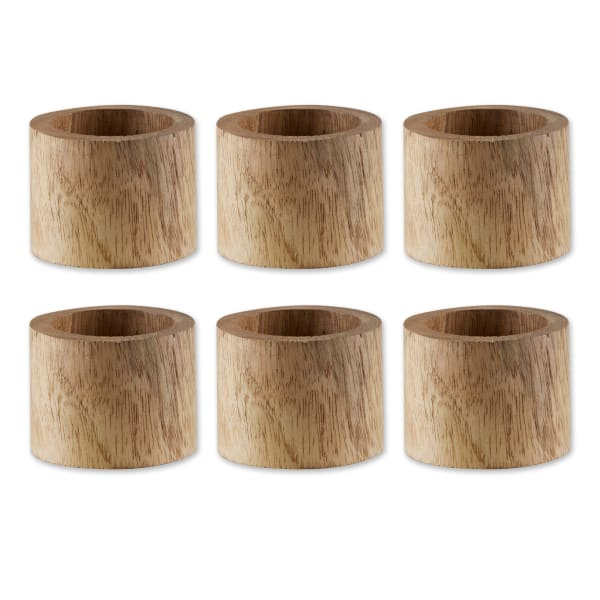 Light Finish Wood Band Set of 6 Napkin Rings