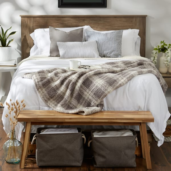 Gray Farmhouse Plush Plaid Throw