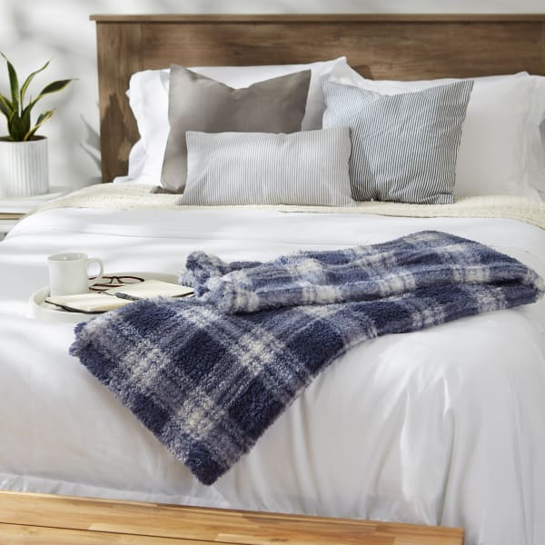 French Blue Farmhouse Plush Plaid Throw