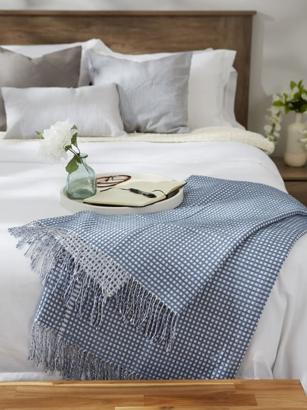 Stonewash Blue & White Waffle Knit Throw