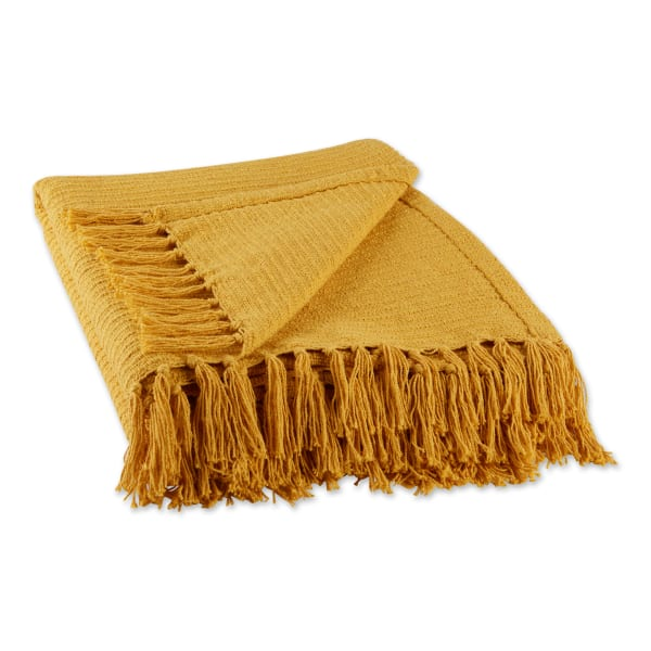 Honey Gold Solid Ribbed Throw