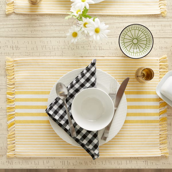 Deep Yellow Stripes With Fringe Set of 6 Placemat