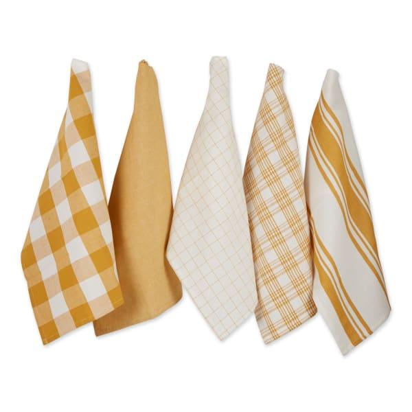 Asst Honey Gold Everyday Set of 5 Dishtowels