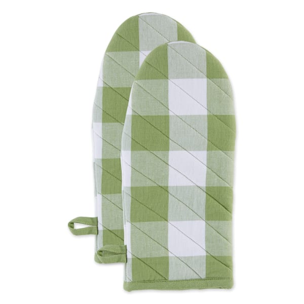 Antique Green Buffalo Check Set of 2 Oven Mitts