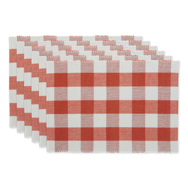 Buffalo Check Vintage Red Ribbed Set of 6 Placemats