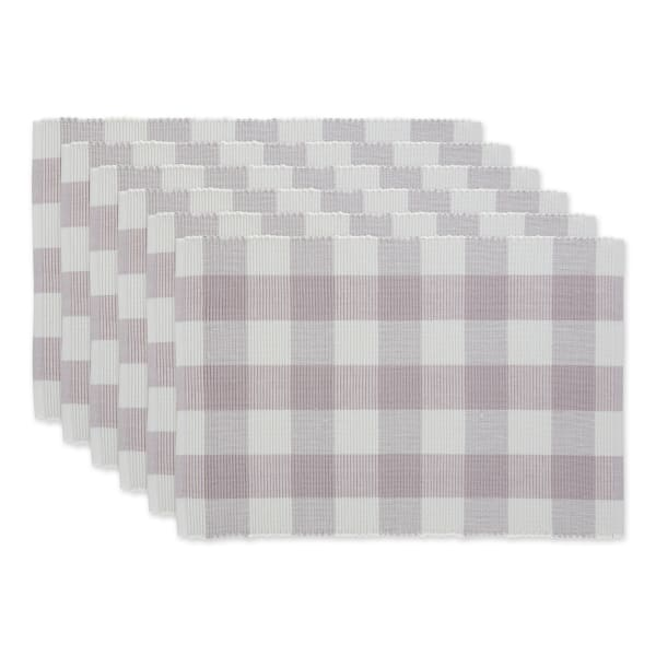 Buffalo Check Dusty Lilac Ribbed Set of 6 Placemats