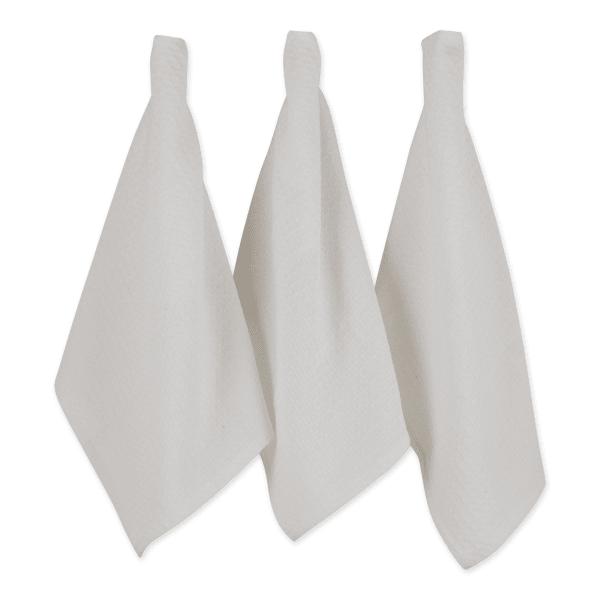 White Recycled Cotton Waffle Set of 6 Dishtowels