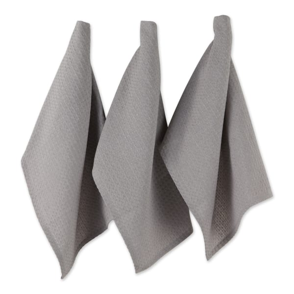 Gray Recycled Cotton Waffle Set of 6 Dishtowels