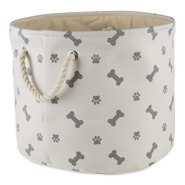 Gray Paw Bone Polyester Round Medium Pet Storage Bin
