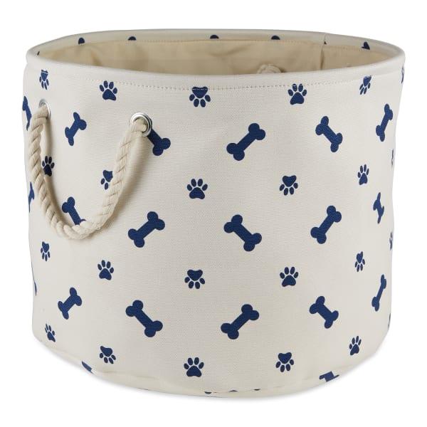 Blue Paw Bone Nautical Polyester Round Medium Pet Storage Bin