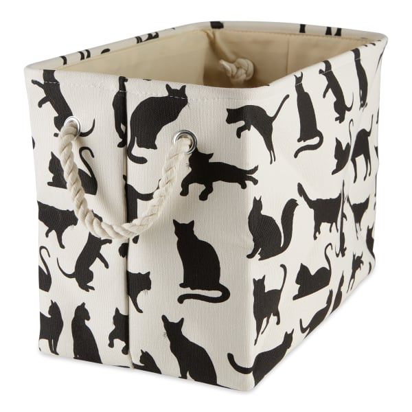 Cats Meow Polyester Rectangle Small Pet Storage Bin