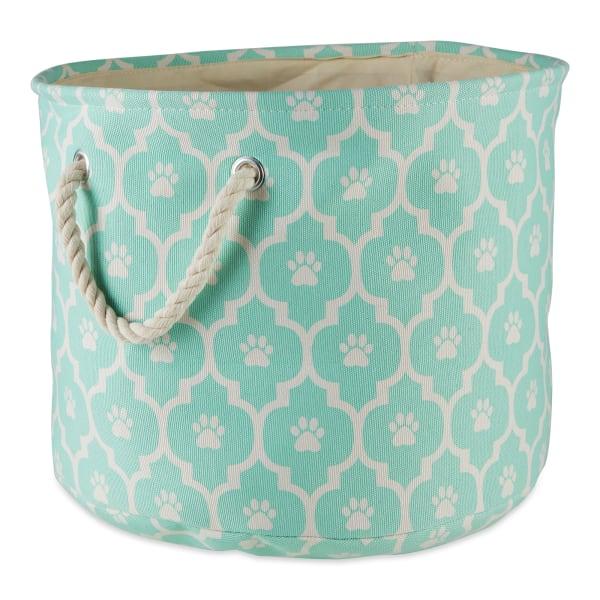Aqua Lattice Paw Polyester Round Small Pet Storage Bin