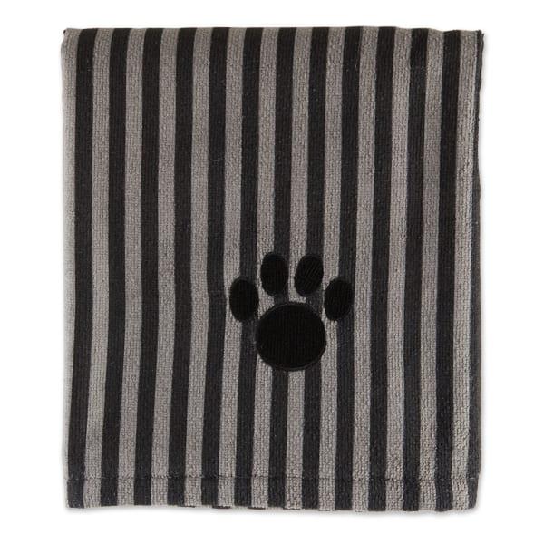 Bone Dry Black Stripe Embroidered Paw Pet Towel