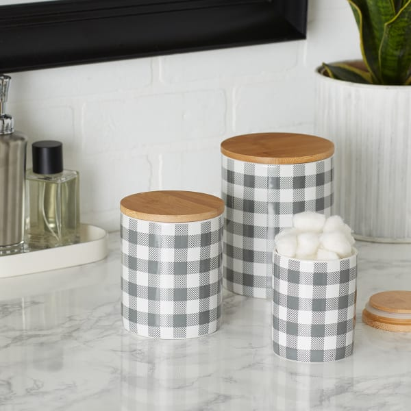 Gray & White Buffalo Check Ceramic Set of 3 Canister