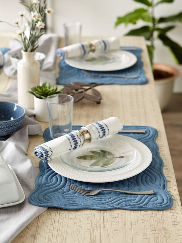 French Blue Quilted Farmhouse Placemat (Set of 6)
