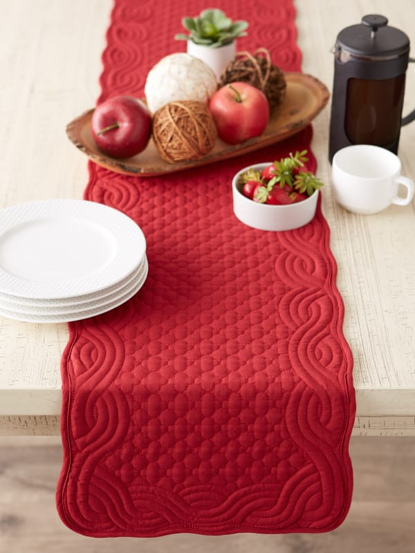 Cranberry Quilted Farmhouse Table Runner