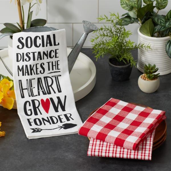 Social Distance Makes The Heart Grow Fonder 3 Piece Dishtowel