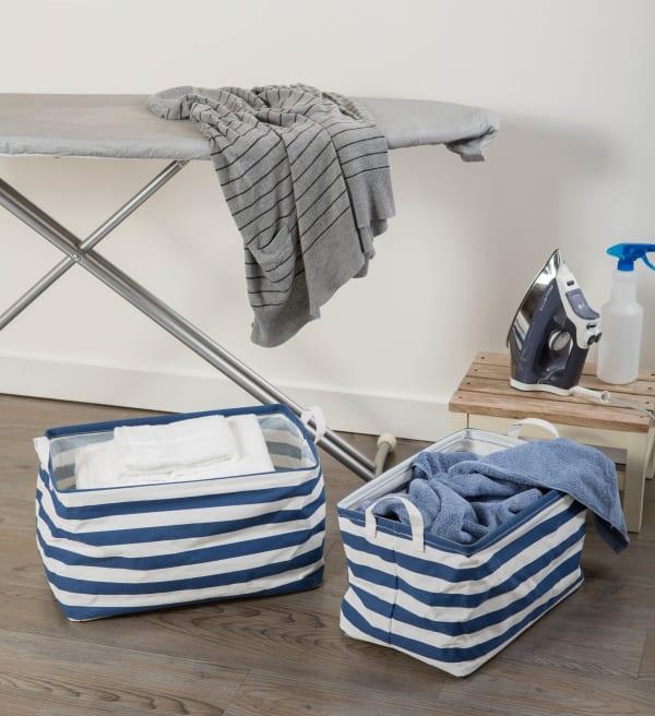 Nautical Blue Laundry Storage Bin, Large Set of 2