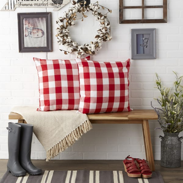 Buffalo Check Red/White Pillow Covers, Set of 2