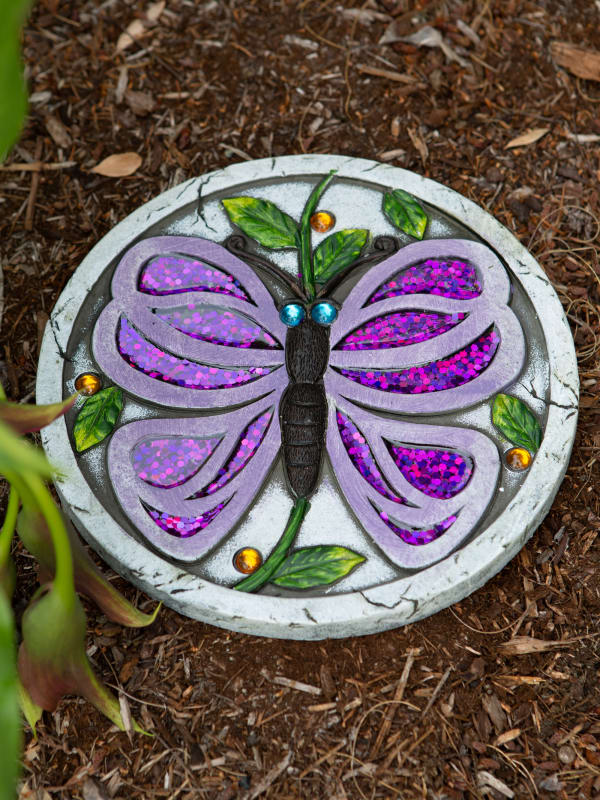 Purple Butterfly Garden Stepping Stone