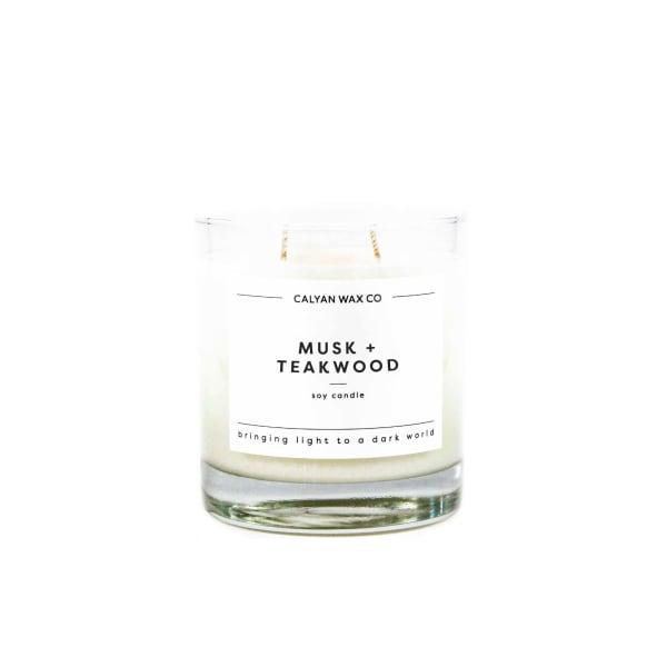 Calyan Wax Co Musk/Teakwood Soy Wax Candle Glass Tumbler