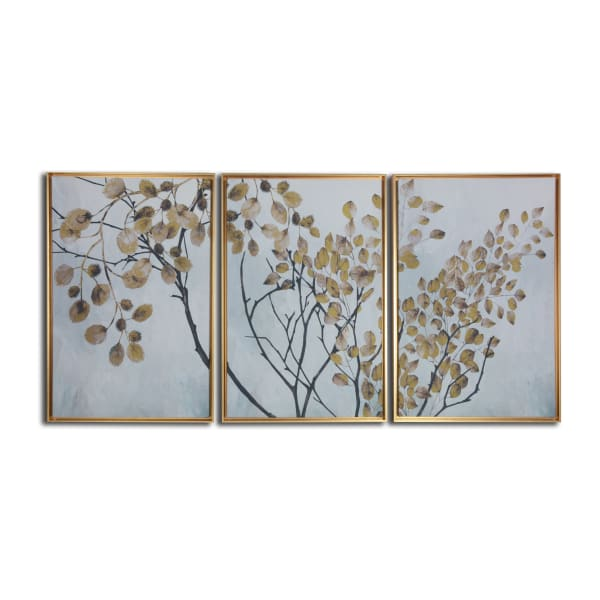 Asian Branches 3 Piece Floating Canvas Botanical Art Print