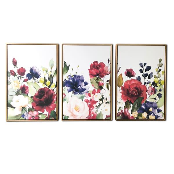 Floral Garden 3 Piece Floating Canvas Floral Art Print