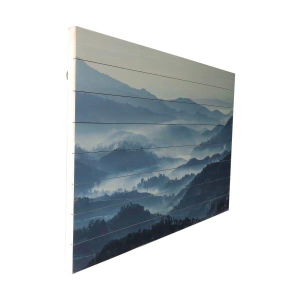 Misty Mountains Planked Wood Landscape Art Print