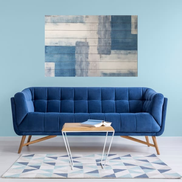 Soft Blue Abstract Planked Wood Modern Art Print