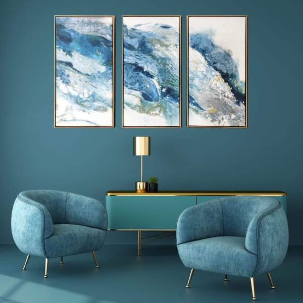 Abstract Regalite 3 Piece Floating Canvas Modern Art Print