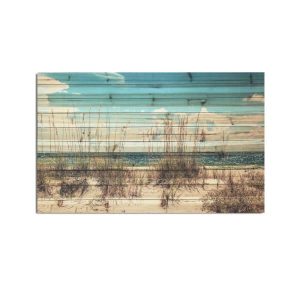 Sand Dunes Planked Wood Beach Art Print