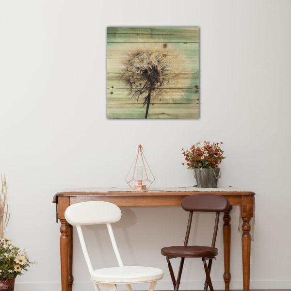 Dandelion Wishes Planked Wood Floral Art Print