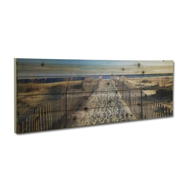 Walk to the Beach Planked Wood Beach Art Print