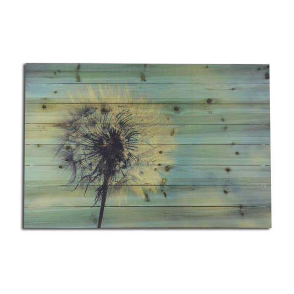 Dandelion Planked Wood Floral Art Print
