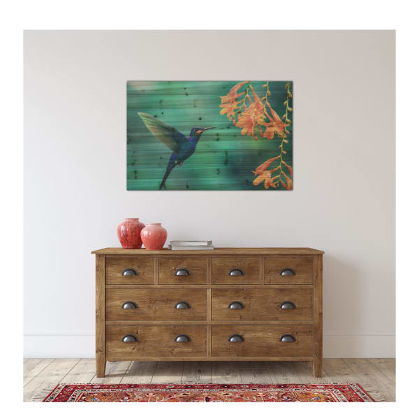Hummingbird Planked Wood Animal Art Print
