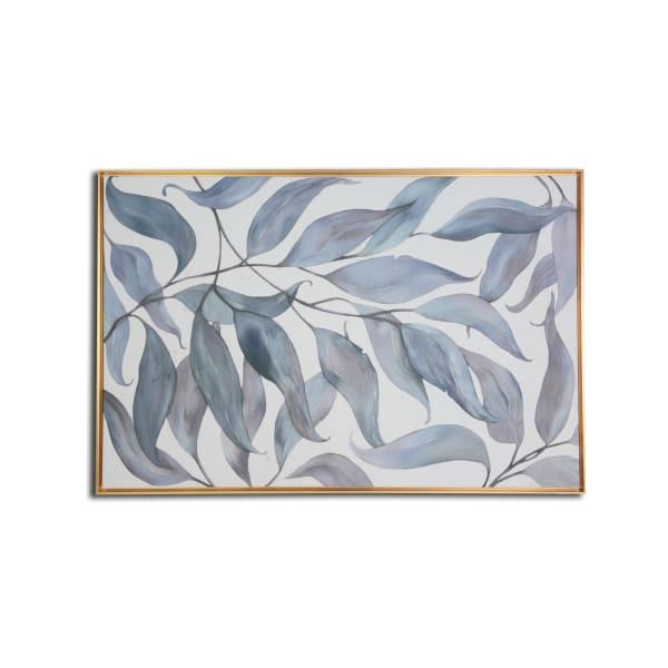 Blue Leaves Floating Canvas Botanical Art Print