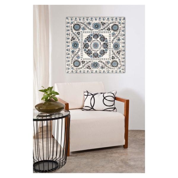 Blue Suzani Planked Wood Pattern Art Print