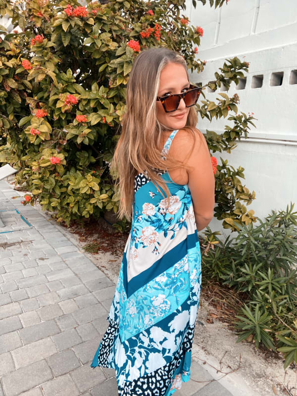 Floral Knit Pointed Hem Dress