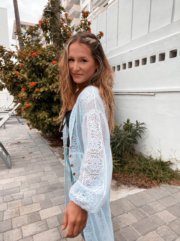 Crocheted White Button Front Cardigan