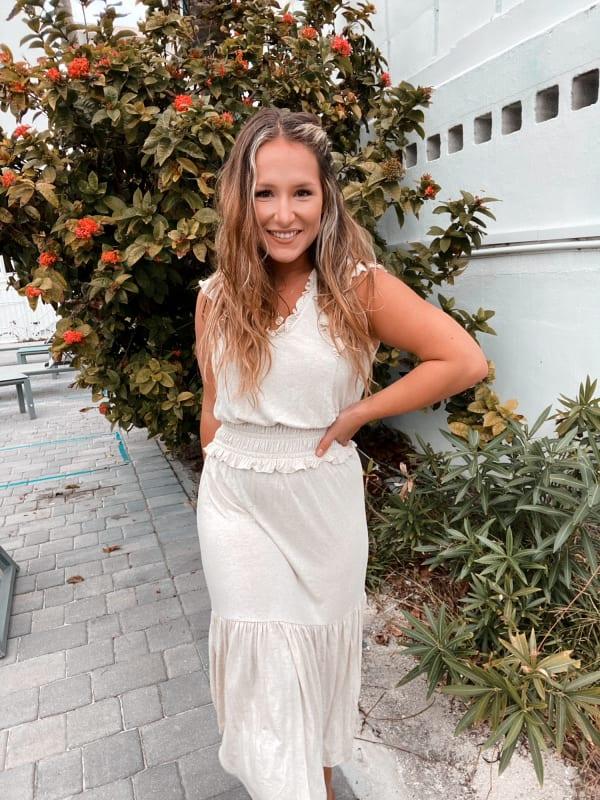 Ruffle Sleeve Smocked Midi Dress