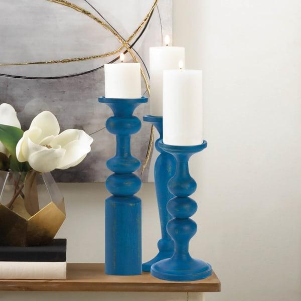 Cadiz Blue Artisan Candleholder