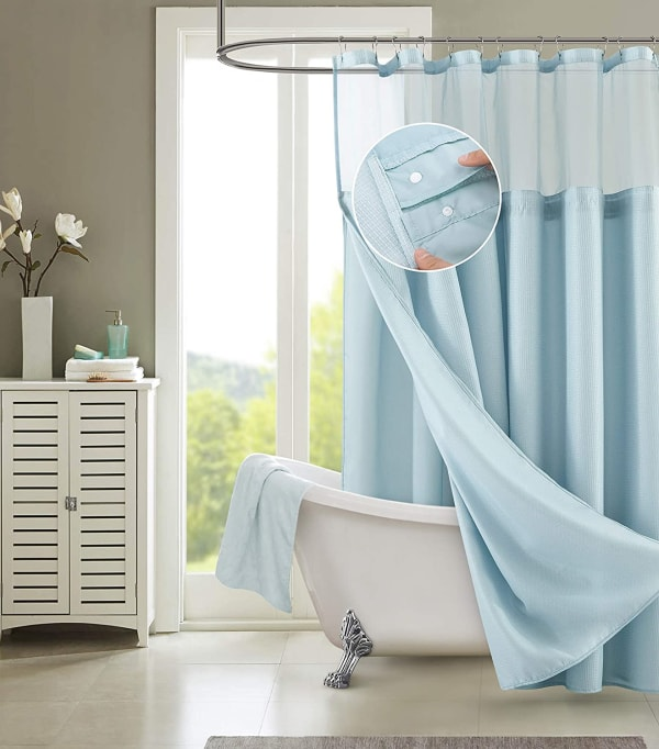 Dainty Home Waffle Sky Blue 2pc Shower Curtain with Detachable Liner