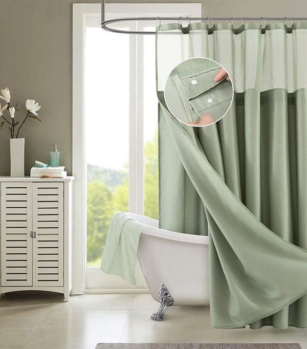 Dainty Home Waffle Khaki Green 2pc Shower Curtain with Detachable Liner