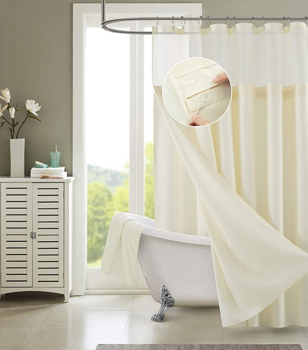 Dainty Home Waffle Ivory 2pc Shower Curtain with Detachable Liner