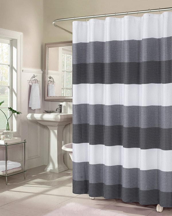 Dainty Home Ombre Waffle Black Shower Curtain